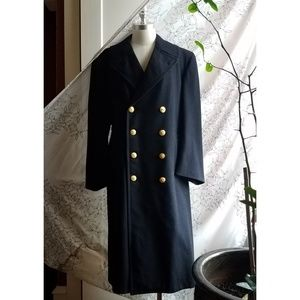 Vintage Wool Overcoat, Navy Dress Coat
